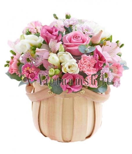 One Dozen Roses In Basket