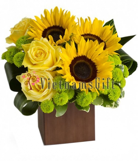 A Wooden Box of Sunflowers